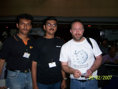 Myself, Jimmy Wales & Aswin